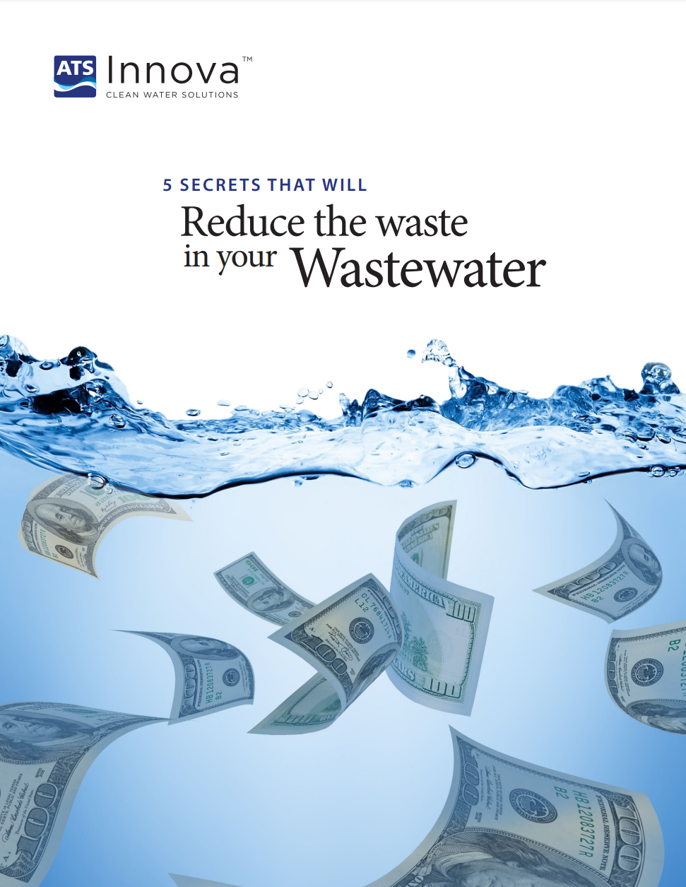 """The first page of """"Five Secrets that will significantly reduce the waste in your wastewater."""""""